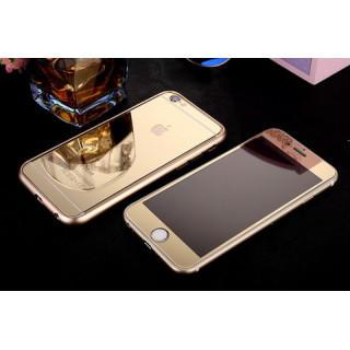 iPhone6/6s前後鏡面ガラス&アルミバンパー ゴールド(iPhoneケース)