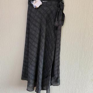 スコットクラブ(SCOT CLUB)の新品タグ付き*定価12800円 グレンチェック 巻きスカート マンサール 春夏(ロングスカート)