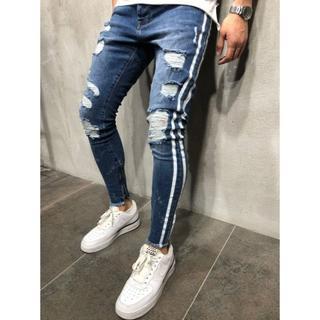 サイズが選べる クラッシュデニム パンツ メンズ ネイビー ブルー 青 ジーンズ