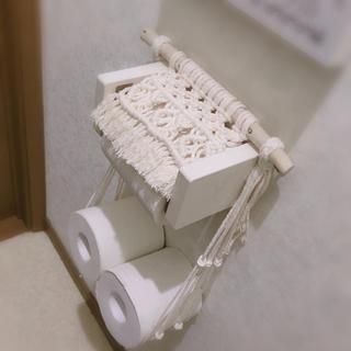 マクラメ トイレットペーパー ホルダー(トイレ収納)