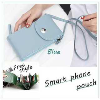 レディース ブルー 携帯 スマホ ポシェット お財布ショルダー ショルダーバッグ(ショルダーバッグ)
