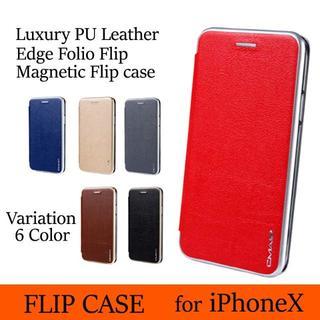 iPhoneX ケース 手帳型 グレー カプセル レザーケース シンプル ビジネ(iPhoneケース)