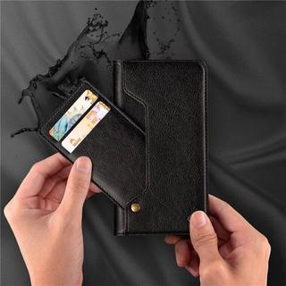 ブラック iPhoneX スライドカード PUレザー 手帳型ケース(iPhoneケース)