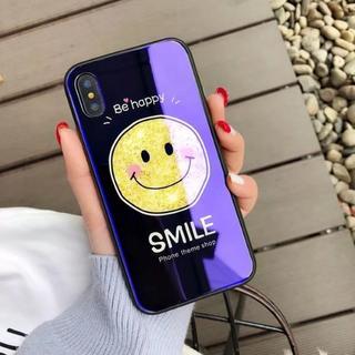 ブラック iPhoneX スマイル ニコちゃん ブルー光沢 ケース(iPhoneケース)