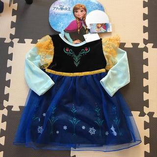 ディズニー(Disney)の90cm ディズニー アナ雪 プリンセス キャラクター アナ なりきりワンピース(ワンピース)