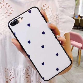 ☆iPhoneX☆スマホケース☆可愛いブルーのハート柄☆ホワイト☆(iPhoneケース)