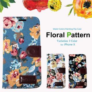 iPhoneX ケース 手帳型 ボタニカル 花柄 フラワー(iPhoneケース)
