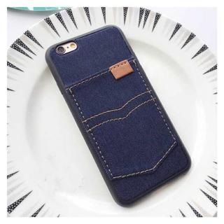 iPhone7 iPhone8 ダークブルー デニム 調 ソフトケース(iPhoneケース)