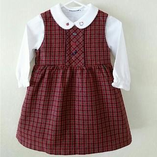 familiar - 【美品】familiar ファミリア ジャンバースカート サイズ90