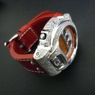 スワロフスキー 赤ベルト時計(レザーベルト)