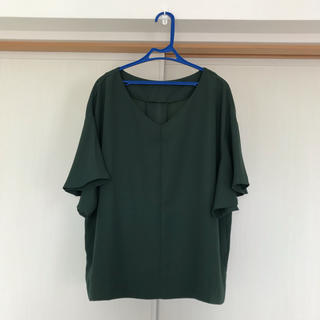ジーユー(GU)のグリーンブラウス 半袖 GU XL(シャツ/ブラウス(半袖/袖なし))