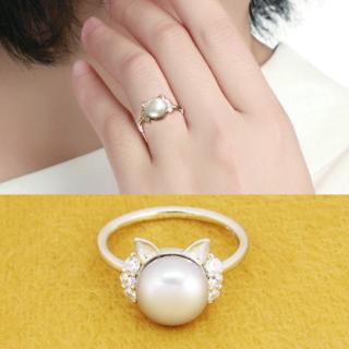 猫耳モチーフのかわいいリング シルバー925 淡水パール(シルバーグレー) (リング(指輪))