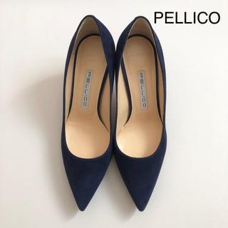 PELLICO - 美品 ★ ペリーコ cora スエードパンプス ★ ネイビー
