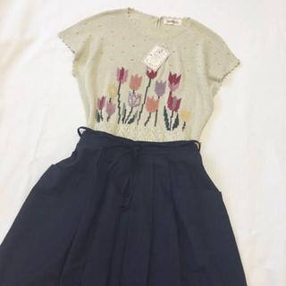 チューリップ 刺繍 新品 ニット ナチュラル レトロ (ニット/セーター)
