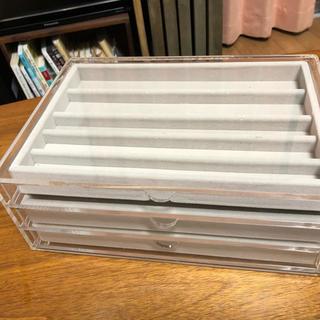 MUJI (無印良品) - 無印良品 アクリルケース 3段 ベロア内箱付き