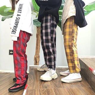 ストリート   韓国  オルチャン  チェック  パンツ  赤  黄  ネイビー(その他)