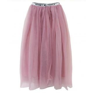 ハニーミーハニー(Honey mi Honey)のチュールスカート ピンク honeymihoney 大きいサイズ 17号 19号(ロングスカート)