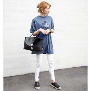 ディズニー(Disney)のタグ付き新品未使用 ディズニー かすれヴィンテージ感 ミッキー Tシャツ ブルー(Tシャツ(半袖/袖なし))