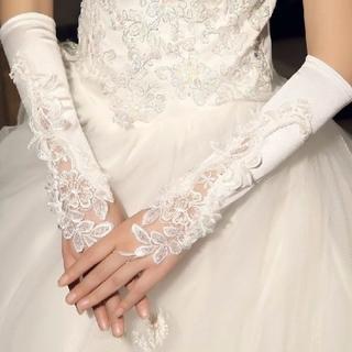 美しい❗️フィンガーレスグローブ ウェディンググローブ 指なし手袋 66(ウェディングドレス)