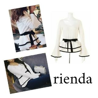 rienda - rienda バイカラーブラウジングknit TOP リボン フレア