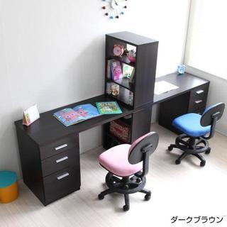 高品質◎学習机 ツインデスク 書棚付きラック 3段チェスト ブラウン(学習机)