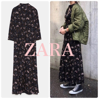 ZARA - 新品 タグ付き ZARA フラワー柄シャツワンピース M マキシワンピース