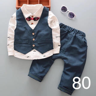 80cmブルー♡男の子長袖フォーマルスーツセット 結婚式 誕生日 七五三(セレモニードレス/スーツ)
