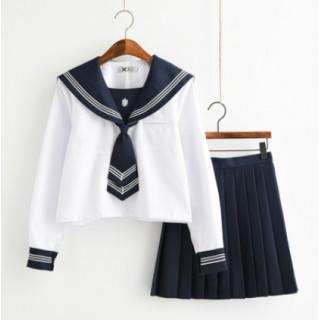 コスプレ 学生服 長袖 紺色 セーラー服 上下セット(衣装一式)