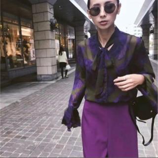 Ameri VINTAGE - AMERI VINTAGE ボウタイリボンシャツ 紫