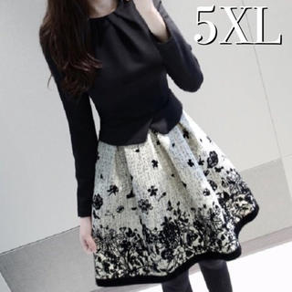 5XL 春服 ストレッチ きれいめ 花柄ワンピース ドレス 大きいサイズ 黒(ミディアムドレス)