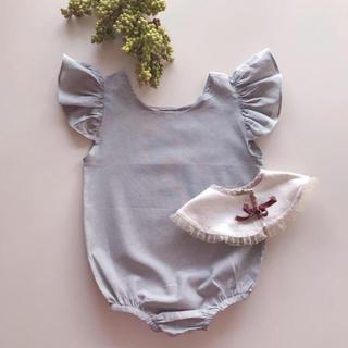Caramel baby&child  - コットンリネンフリルロンパース  新品未使用