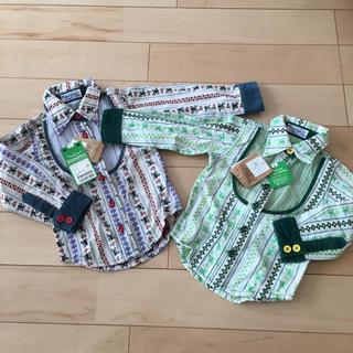 スーパーブーホームズ(SUPER BOO HOMES)のタグ付未使用品♪BOOHOMESオオカミくんシャツ2枚セット♪双子コーデ90刺繍(ブラウス)
