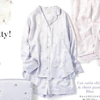 ジェラートピケ(gelato pique)の新品 ジェラートピケ キャット サテン シャツ パンツ パジャマ ねこ (ルームウェア)