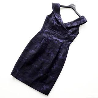 GRACE CONTINENTAL - ダイアグラム■ 38 紫x黒 刺繍ワンピース グレースコンチネンタル