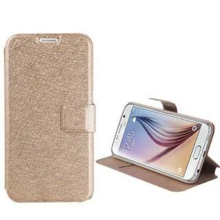 Galaxy S7 edge ゴールド シンプル 薄型 手帳型ケース