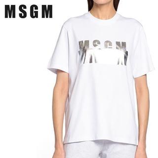 エムエスジイエム(MSGM)の【L4】MSGM ホワイト コットン シルバーロゴ 半袖 TシャツM(Tシャツ(半袖/袖なし))