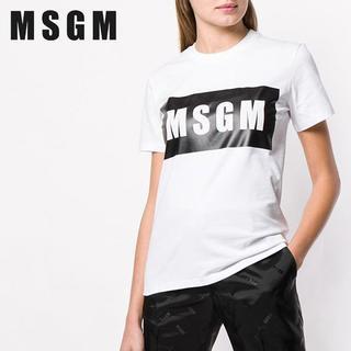 エムエスジイエム(MSGM)の【L5】MSGM ホワイト コットン BOXロゴ 半袖 TシャツM(Tシャツ(半袖/袖なし))