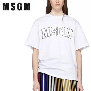 エムエスジイエム(MSGM)の【L6】MSGM ホワイト ロゴ オーバーサイズ 半袖 TシャツS(Tシャツ(半袖/袖なし))