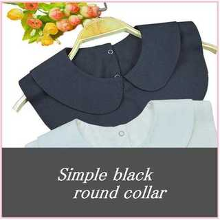 レディース 襟先丸 ラウンド 黒つけ襟 シャツ 丸襟 衿 ブラウス ブラック(つけ襟)