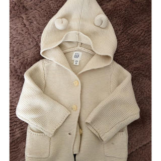 ベビーギャップ(babyGAP)のGAP くま耳フード ガーター編みセーター(カーディガン/ボレロ)