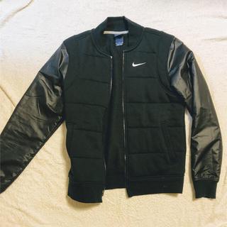 ナイキ(NIKE)のNIKE ナイキ ジャケット 袖レザー 革 黒色 ブラック Sサイズ(レザージャケット)