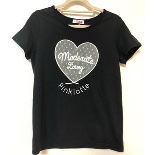 ピンクラテ(PINK-latte)のピンクラテ●ドットチュールハート型Tシャツ(Tシャツ/カットソー)