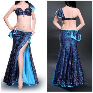 ベリーダンス衣装 青 ブラ&スカート(ダンス/バレエ)