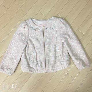 ジーユー(GU)のピンクのツイード アウター 110センチ(ジャケット/上着)