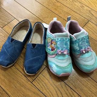 ディズニー(Disney)の子供靴18cm★二足セット!新品と中古美品 アナと雪の女王 デニムエスパドリーユ(スニーカー)