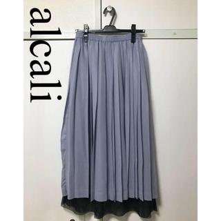 アルカリ(alcali)のアルカリ シフォン メッシュ プリーツスカート アイスグレー(ひざ丈スカート)