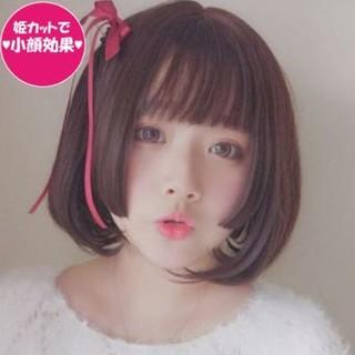 姫カット フル  姫髪 自然 原宿 ロリータ 高品質 耐熱 黒 ブラック  (ショートストレート)