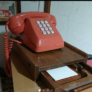 昭和の電話と台のセット(電話台/ファックス台)