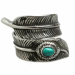 天然石ターコイズ付き フェザーリング(リング(指輪))