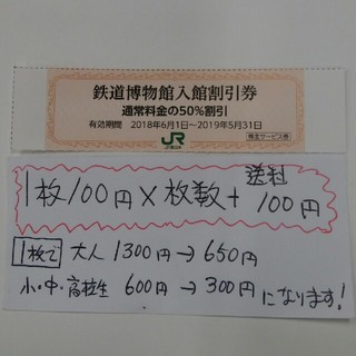 ジェイアール(JR)のJR東日本株主優待券の鉄道博物館半額優待割引券3枚399円、複数枚ございます!(美術館/博物館)